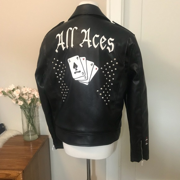 9c2b10559 Guess All Aces Faux Leather Moto Jacket NWT